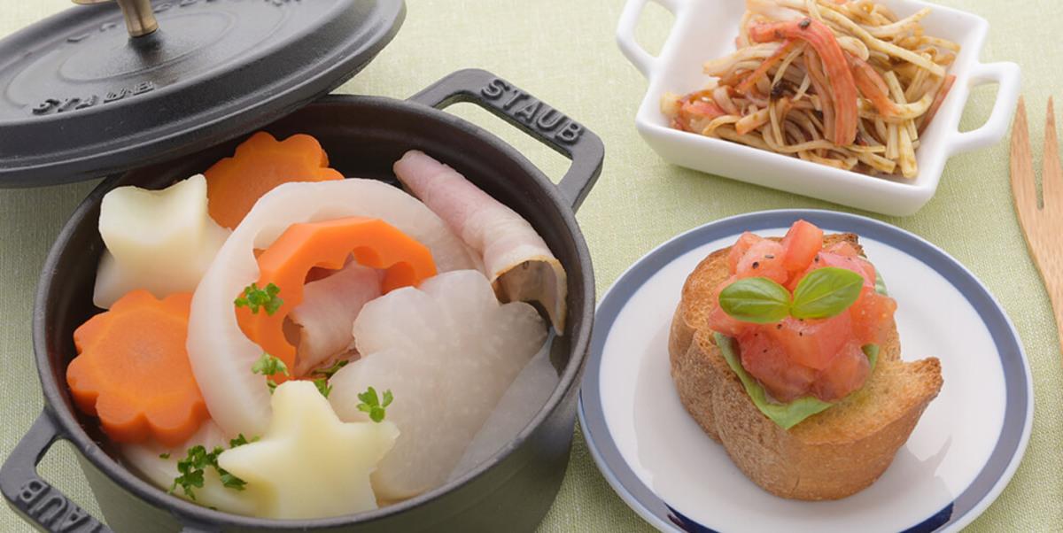 鍋に入れて煮込むだけ!型抜き野菜のポトフ