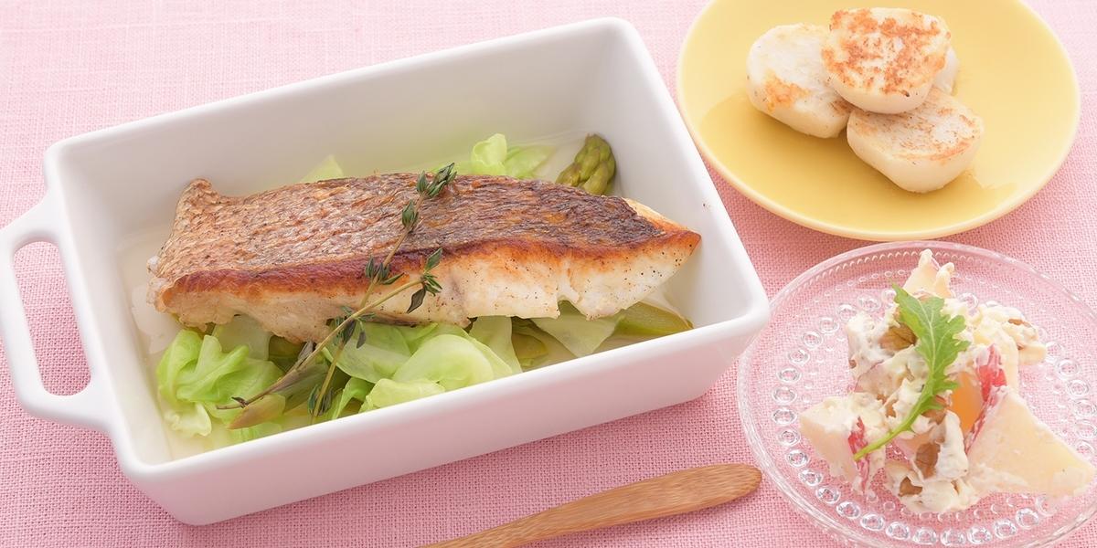 スープ仕立ての白身魚のポアレ