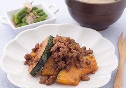 ひき肉とかぼちゃの中華みそ炒め