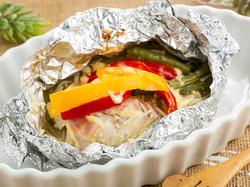 夏野菜と魚のホイルマヨ焼き