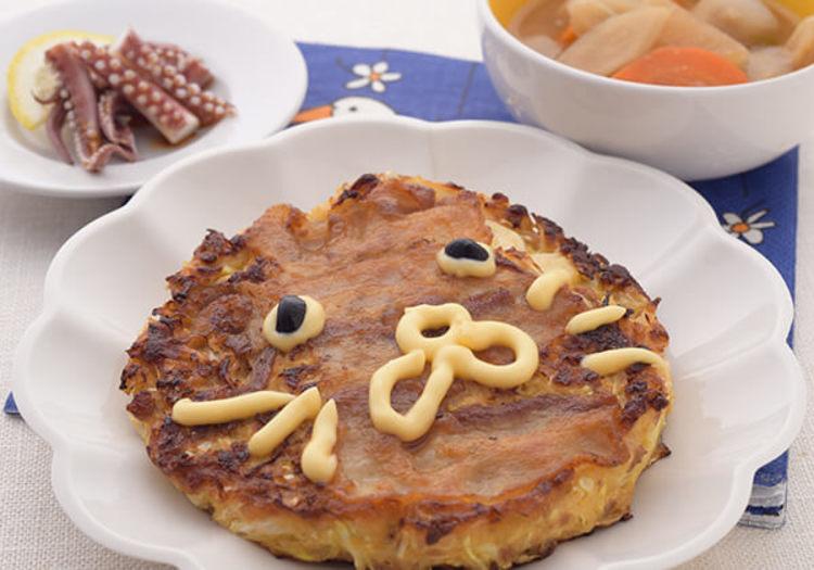 キャベツと納豆のライオンお好み焼き